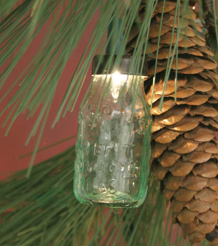 Mini Glass Mason Jar Ornament For Christmas Lights