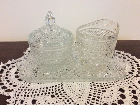 Set Vintage Sugar Bowl,Creamer and Tray