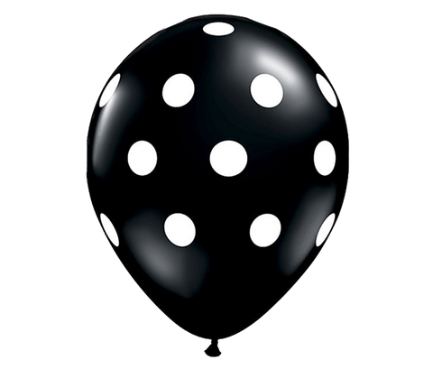 "11"" Black Polka Dot Balloon - 6 Pack"