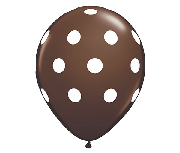 "11"" Chocolate Brown Polka Dot Balloon - 6 Pack"