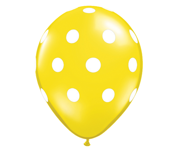 "11"" Jewel Citrine Yellow Polka Dot Balloon - 6 Pack"