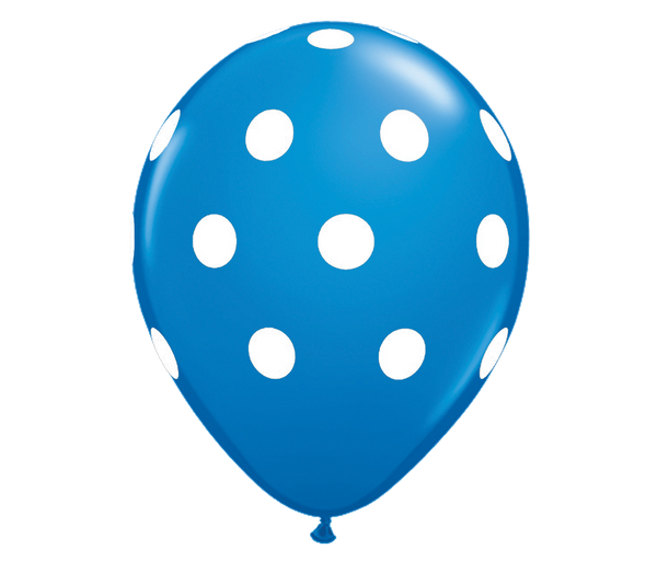 "11"" Dark Blue Polka Dot Balloon - 6 Pack"