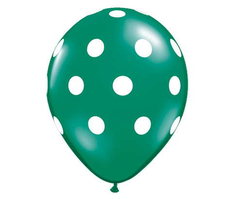 "11"" Jewel Emerald Green Polka Dot Balloon - 6 Pack"