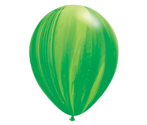 "11"" Green Tie-Dye Balloon - 6 Pack"