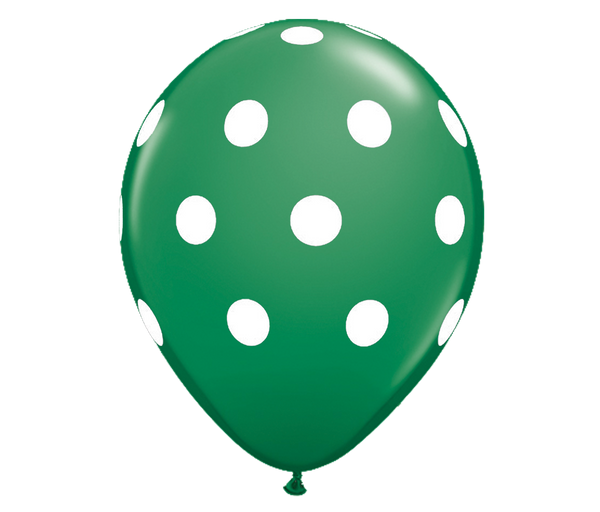 "11"" Green Polka Dot Balloon - 6 Pack"