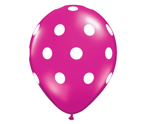 "11"" Jewel Magenta Polka Dot Balloon - 6 Pack"