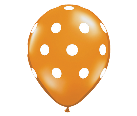 "11"" Jewel Mandarin Orange Polka Dot Balloon - 6 Pack"