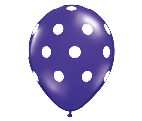 "11"" Jewel Quartz Purple Polka Dot Balloon - 6 Pack"