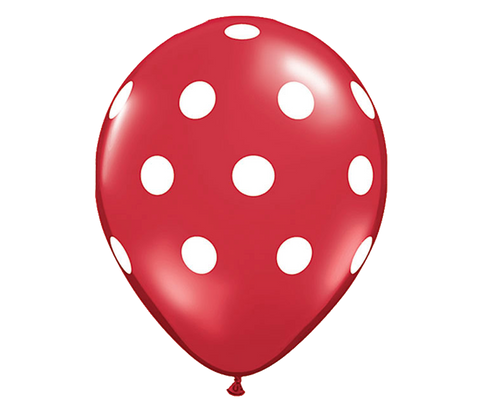 "11"" Red Polka Dot Balloon - 6 Pack"