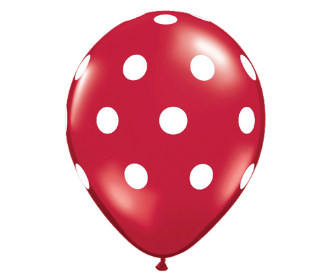 "11"" Jewel Ruby Red Polka Dot Balloon - 6 Pack"