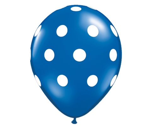 "11"" Jewel Sapphire Blue Polka Dot Balloon - 6 Pack"