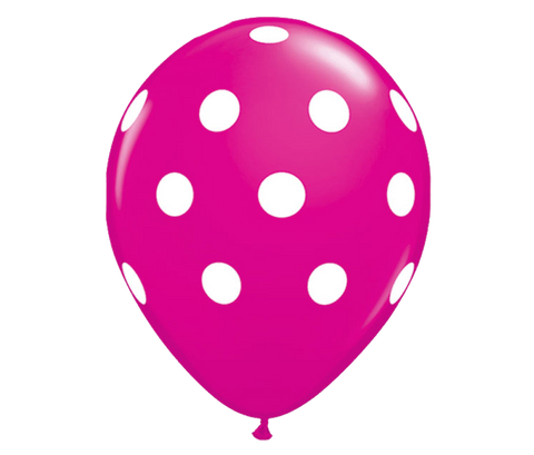 "11"" Wildberry Polka Dot Balloon - 6 Pack"