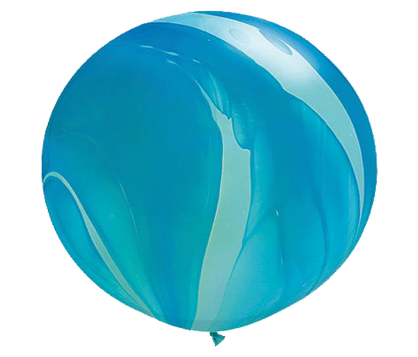 "30"" Blue Tie-Dye Latex Balloon"