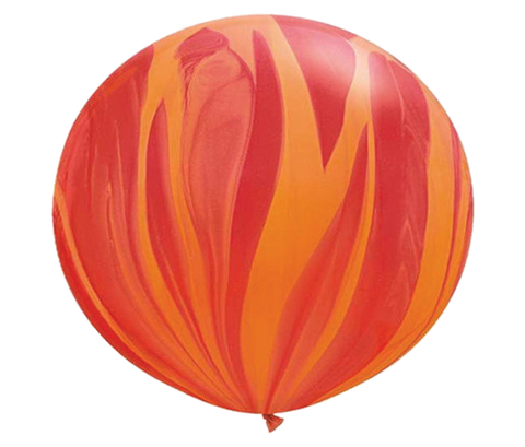 "30"" Red & Orange Tie-Dye Latex Balloon"
