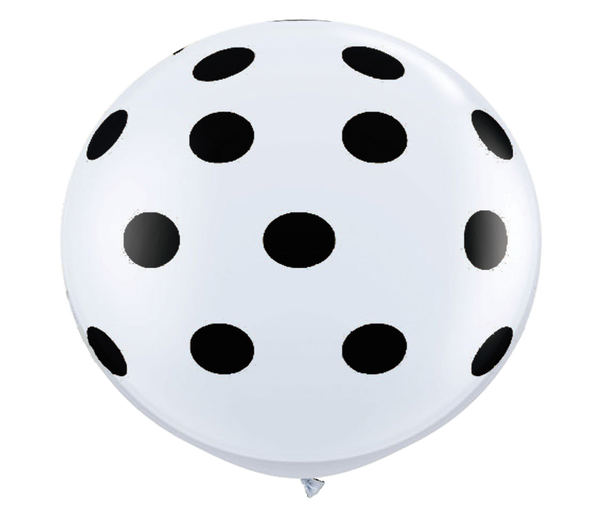 "36"" Black Reverse Polka Dot Balloon"