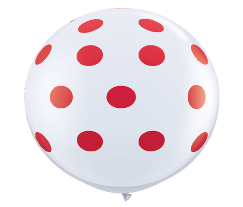 "36"" Red Reverse Polka Dot Balloon"