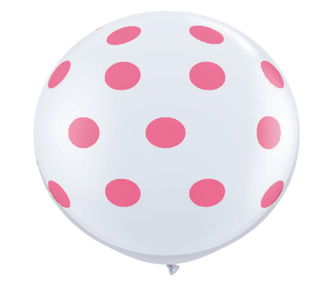 "36"" Rose Reverse Polka Dot Balloon"