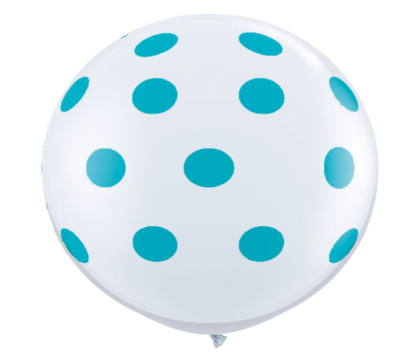 "36"" Tropical Teal Reverse Polka Dot Balloon"