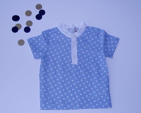 Collared Shirt Blue Stars