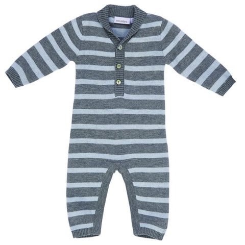 Blue And Grey Striped Knit Jumpsuit Baby
