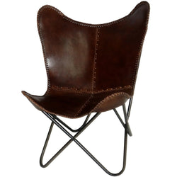 Butterfly Chair Handmade Brown Leather with frame