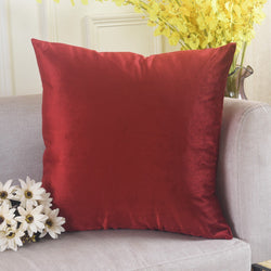 Home Brilliant Shiny Velvet Throw Pillowcase Christmas Cushion Cover Ruby Red
