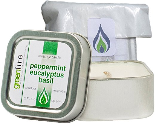 Peppermint Eucalyptus Basil Massage Candle, Travel Size (2 fl oz)