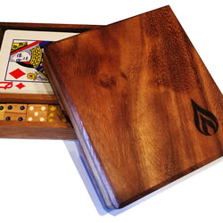 Wooden Box Set with Playing Cards and 5 Dice