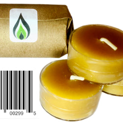 Greenfire Beeswax Tealight Candles, 100% Pure, Handmade, Air Purifying Emergency Survival Candle (Recyclable, Reusable Cups)