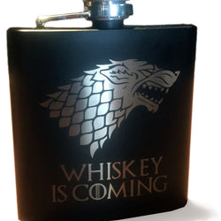 WHISKEY IS COMING (engraved flask)