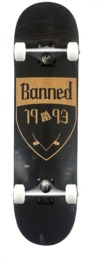 Banned Shield Reversed Skateboard COMPLETE