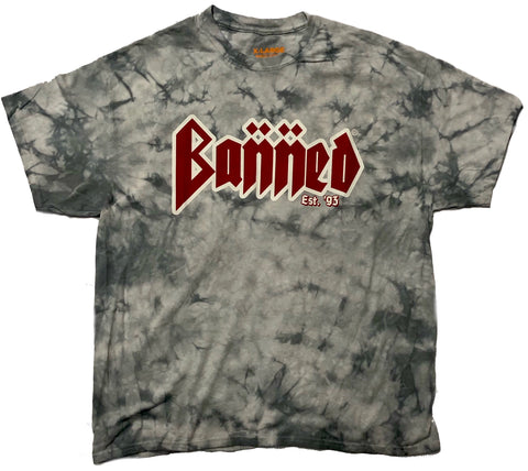 BANNED METAL Grey Tie-Dye Front SS T-Shirt