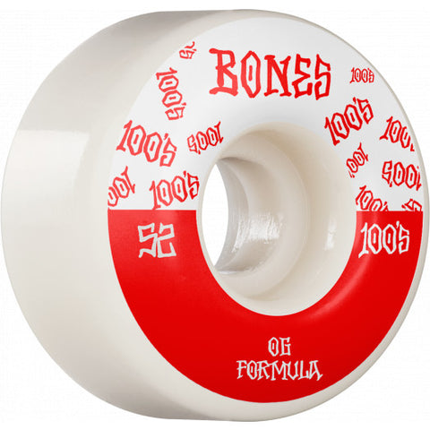 BONES WHEELS OG Formula Skateboard Wheels 100 52mm V4 Wide 4pk White