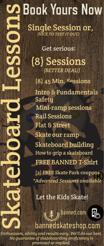 Skateboard Lessons Package at BANNED (8) Lessons