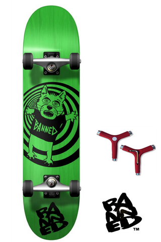 BANNED Cat Bear Skateboard Complete PLUS FREE Tool