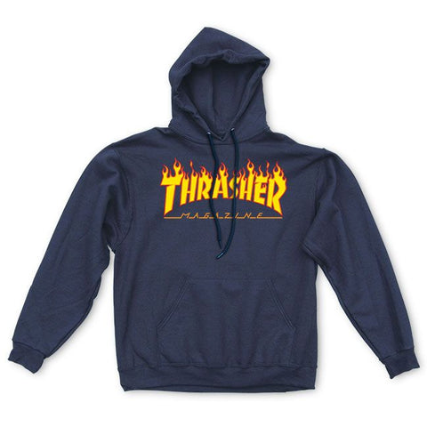 Thrasher Flame Logo Hoodie Navy Blue