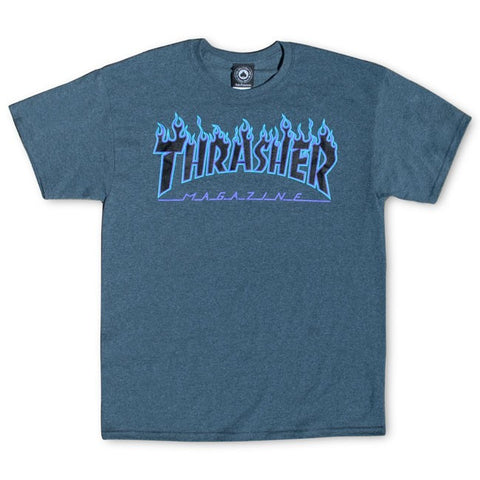 Thrasher Dark Heather Flame Logo Tee