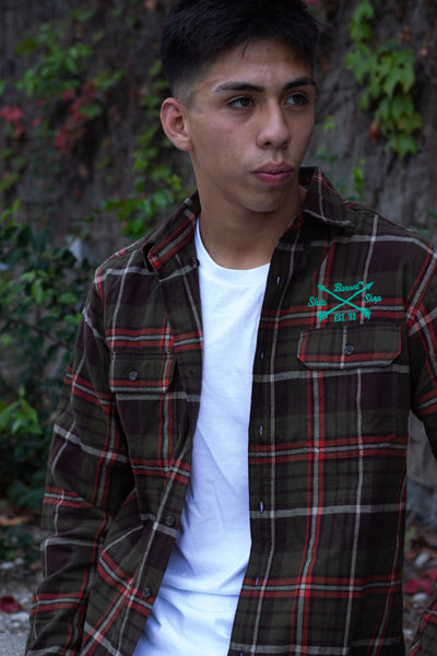 Banned Logo Flannel- Green