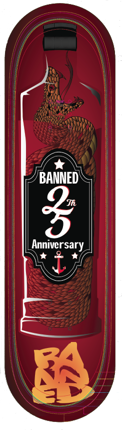 Banned 25 Year Snake Skateboard Deck ( ALL SIZES)