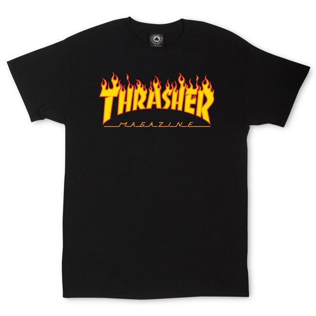 Thrasher Magazine Flame Logo Black T-Shirt