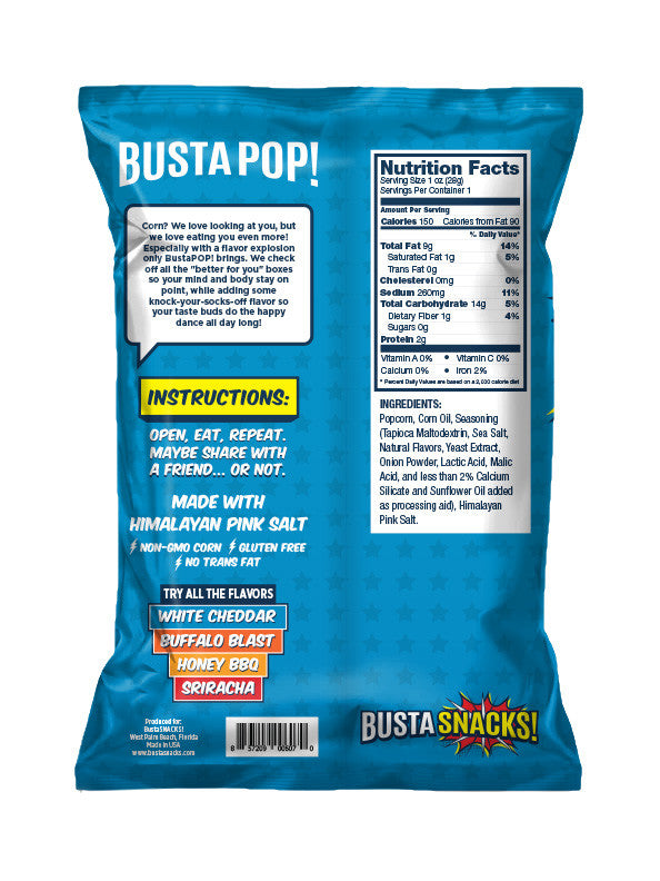 BustaPOP! White Cheddar Popcorn (6 pack)