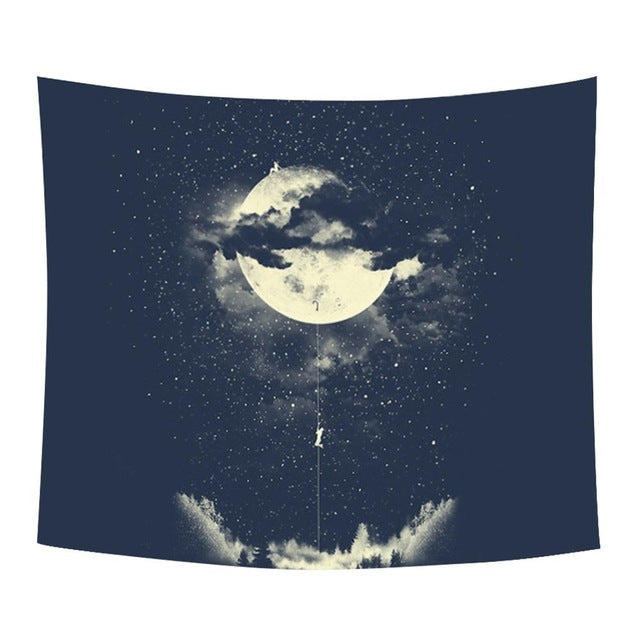 Climb To The Moon Wall Tapestry