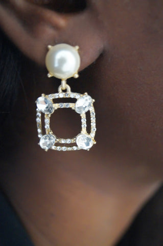 Pearl and Stones Statement Earrings