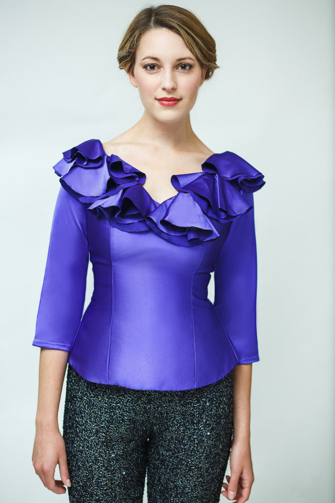 Duchess Satin Top with Frills