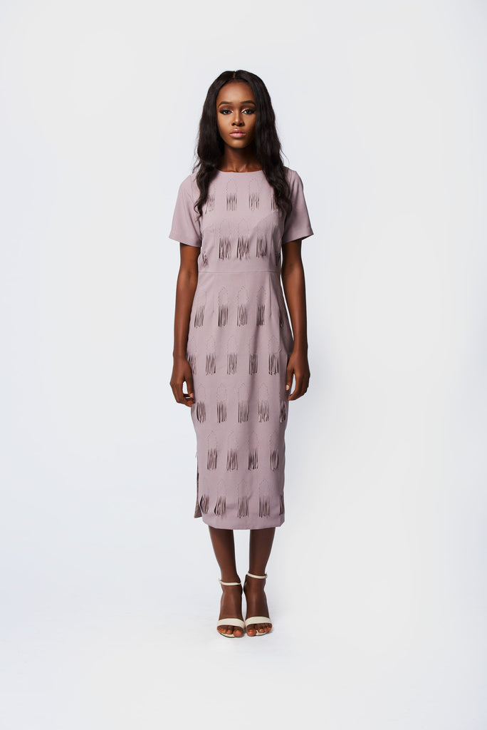 PASTEL PURPLE LASER CUT MIDI DRESS-AMENA