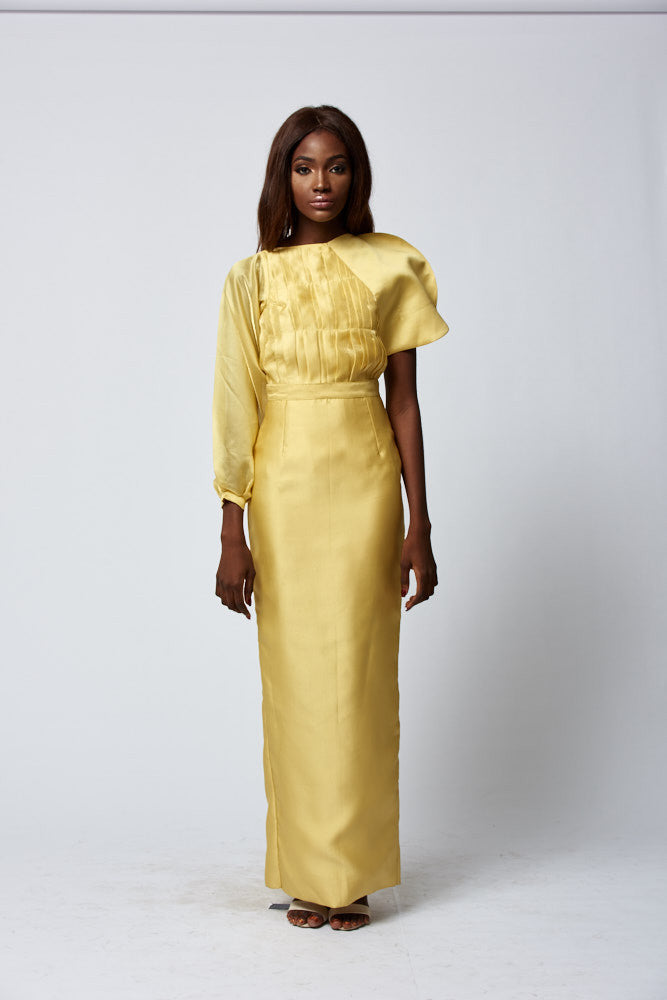 YELLOW DIFFERENT SLEEVE BLOUSE WITH FULL LENGTH STRAIGHT SKIRT: OMOYEMI