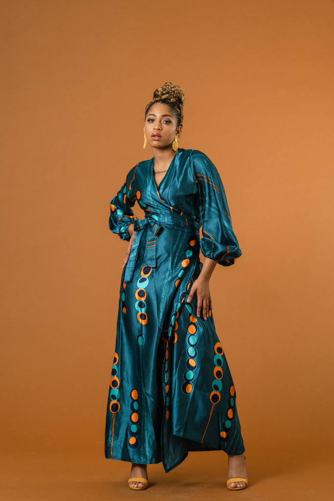 Jesha Ankara Silk Wrap Dress