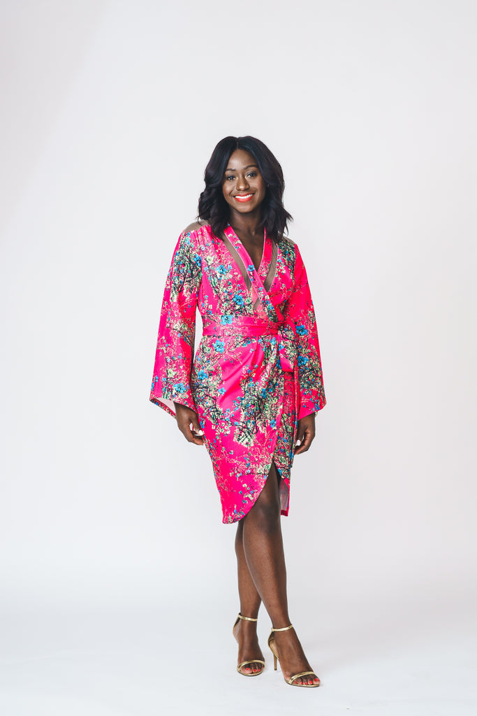 Printed Wrap Kimono Dress with Belt