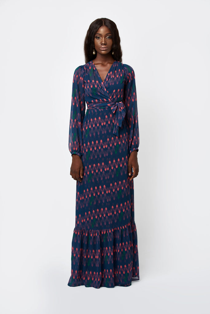 BLUE CROWN PRINT WRAP DRESS: DARIA