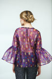 Purple Organza Blouse with African Print and Trumpet Sleeves